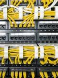 Fermez-vous des câbles jaunes de réseau reliés au commutateur Images stock