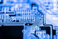Fermez-vous des circuits électroniques en technologie sur le panneau de logique de fond d'ordinateur de Mainboard, carte mère d'u photos libres de droits