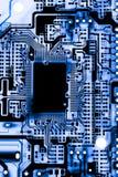 Fermez-vous des circuits électroniques en technologie sur le panneau de logique de fond d'ordinateur de Mainboard, carte mère d'u photo libre de droits