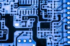 Fermez-vous des circuits électroniques en technologie sur le panneau de logique de fond d'ordinateur de Mainboard, carte mère d'u image libre de droits
