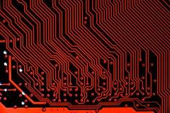 Fermez-vous des circuits électroniques en technologie sur Mainboard image stock