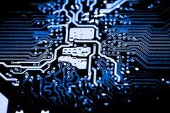 Fermez-vous des circuits électroniques sur le panneau de logique de fond d'ordinateur de technologie de Mainboard, carte mère d'u photos libres de droits