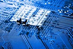 Fermez-vous des circuits électroniques sur le panneau de logique de fond d'ordinateur de technologie de Mainboard, carte mère d'u images libres de droits