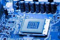 Fermez-vous des circuits électroniques sur le panneau de logique de fond d'ordinateur de technologie de Mainboard, carte mère d'u photo libre de droits