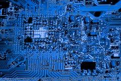 Fermez-vous des circuits électroniques sur le panneau de logique de fond d'ordinateur de technologie de Mainboard, carte mère d'u photo stock