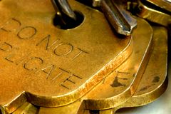 Fermez-vous des clés Image libre de droits