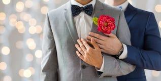 Fermez-vous des couples gais masculins heureux Photographie stock