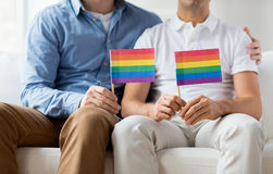 Fermez-vous des couples gais masculins tenant des drapeaux d'arc-en-ciel Image libre de droits