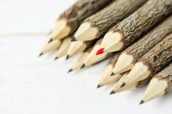 Fermez-vous des crayons rouges et noirs d'eco Photographie stock