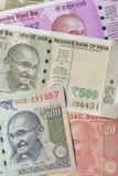 Fermez-vous des devises indiennes tirées dans le studio image stock