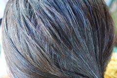 Fermez-vous des femmes ont les cheveux gris photo stock