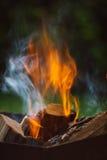 Fermez-vous des flammes de feu de camp Photos libres de droits