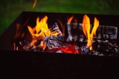 Fermez-vous des flammes de feu de camp Photographie stock libre de droits