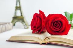 Fermez-vous des fleurs de rose de rouge au vieux livre ouvert avec la tonne de vintage Image stock