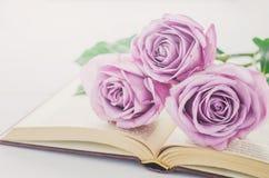 Fermez-vous des fleurs violettes de rose de pourpre et du livre ouvert avec le vint Images stock
