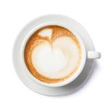Fermez-vous des formes d'art de latte sur le fond blanc d'isolement Photos stock