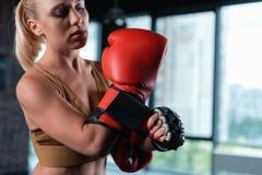 Fermez-vous des gants de boxe rouges lumineux portant par le boxeur féminin photos stock