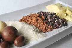 Fermez-vous des ingrédients crus pour faire le chocolat image stock