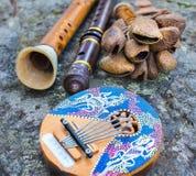 Fermez-vous des instrumen de musique de tuyau de kalimba, de hochet, de cannelure et de klaxon photo libre de droits