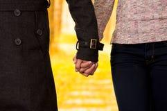 Fermez-vous des jeunes couples dans l'amour dans le jour de valentines de St à un arrière-plan brouillé de parc d'autum Photo stock