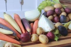 Fermez-vous des légumes frais pour la soupe Image libre de droits
