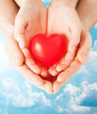 Fermez-vous des mains de couples tenant le coeur rouge Images libres de droits