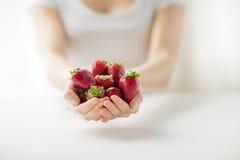 Fermez-vous des mains de femme tenant des fraises photographie stock libre de droits