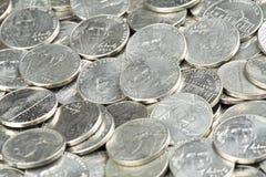 Fermez-vous des pièces de monnaie des Etats-Unis, nickels images libres de droits