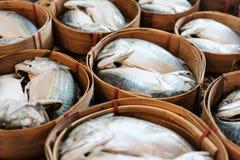 Fermez-vous des poissons de maquereau dans le panier en bois photos stock