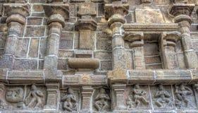Fermez-vous des sculptures, temple de Ramaswamy, Kumbakonam, Tamilnadu, Inde - 17 décembre 2016 Photographie stock libre de droits