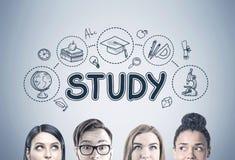 Fermez-vous des têtes des jeunes s, icônes d'étude Images stock