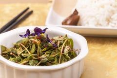 Fermez-vous des verts asiatiques et du riz Images libres de droits