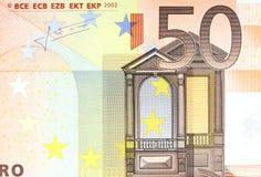 Fermez-vous du billet de banque de l'euro 50 Image libre de droits