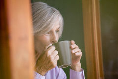 Fermez-vous du café potable de femme supérieure Photo stock