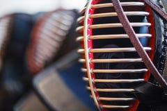 Fermez-vous du casque de kendo photo stock