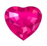 Fermez-vous du coeur rouge de diamant Photos libres de droits
