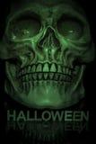 Fermez-vous du crâne avec le texte de Halloween dessous Photos libres de droits