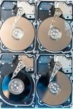 Fermez-vous du disque dur démonté avec la réflexion abstraite Photo stock