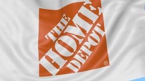 Fermez-vous du drapeau de ondulation avec le logo de Home Depot, boucle sans couture, fond bleu Animation éditoriale 4K ProRes, a banque de vidéos