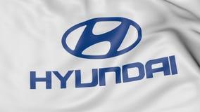 Fermez-vous du drapeau de ondulation avec le logo de Hyundai Motor Company, le rendu 3D Photographie stock libre de droits