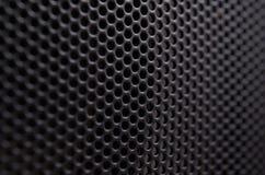 Fermez-vous du gril en métal de noir de haut-parleur Image stock