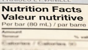 Fermez-vous du label de l'information nutritionnelle Images stock