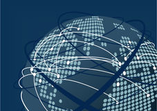 Fermez-vous du monde relié à titre illustratif Fond et globe brouillés bleu-foncé avec la carte pointillée du monde Photos libres de droits
