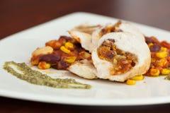 Fermez-vous du plat de poulet avec le Salsa Images libres de droits
