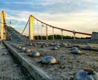 Fermez-vous du pont en métal Photo stock