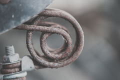 Fermez-vous du ressort rouillé de vélo de vintage Images stock
