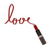 Fermez-vous du rouge à lèvres avec amour de mot Photos libres de droits