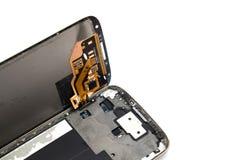 Fermez-vous du téléphone portable cassé photo stock