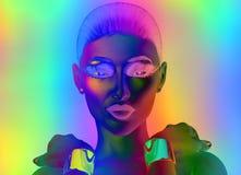 Fermez-vous du visage de la femme sur le fond abstrait de gradient. Photo libre de droits