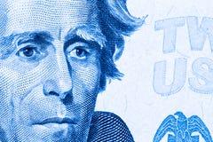 Fermez-vous jusqu'au portrait d'Andrew Jackson sur le billet de vingt dollars toned Image stock
